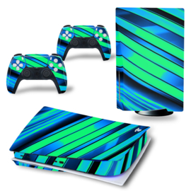 PS5 Console Skins - Metal Twirl Blue / Green