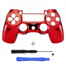 PS4 Controller Behuizing Shell - Chrome Rood (GEN 4, 5) - Front Shell
