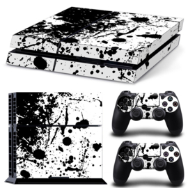 Paint Splatters / Black with White - PS4 Console Skins