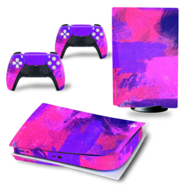 PS5 Console Skins - Grunge Neon Paars / Roze