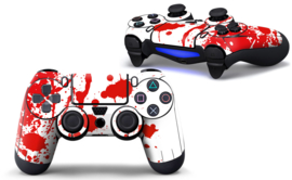 Paint Splatters / White with Red  - PS4 Controller Skins
