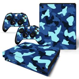 Army Camo Blauw Zwart - Xbox One X Console Skins