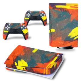 PS5 Console Skins - Grunge Neon Geel / Oranje