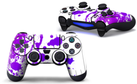 Paint Splatters / White with Purple  - PS4 Controller Skins