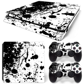 Splatter / White with Black - PS4 Slim Console Skins