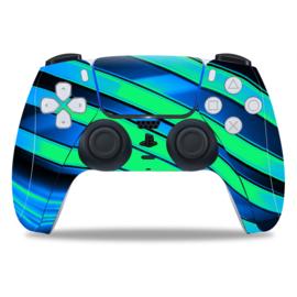 PS5 Controller Skins - Metal Twirl Blauw / Groen