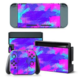Grunge Neon Blauw Paars - Nintendo Switch Skins
