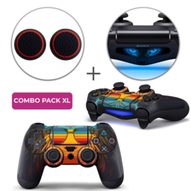 Retro Leeuw Skins Grips XL Bundel - PS4 Controller XL Combo Packs