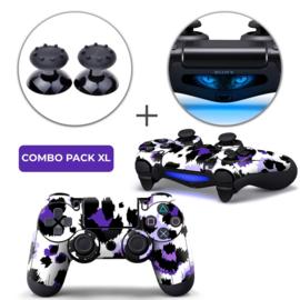Luipaard Print Paars Skins Grips XL Bundel - PS4 Controller XL Combo Packs