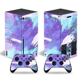 Grunge Neon Paars Lichtblauw - Xbox Series X Console Skins