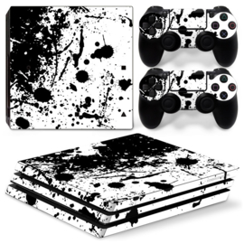 Splatter / White with Black - PS4 Pro Console Skins