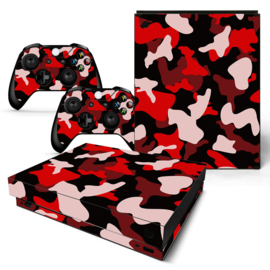 Army Camo Rood Zwart - Xbox One X Console Skins