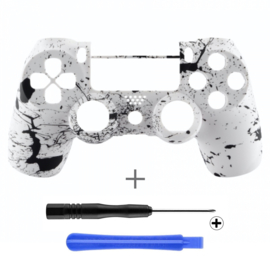 Soft Touch Wit met Zwarte Spetters (GEN 4, 5) - PS4 Controller Shells