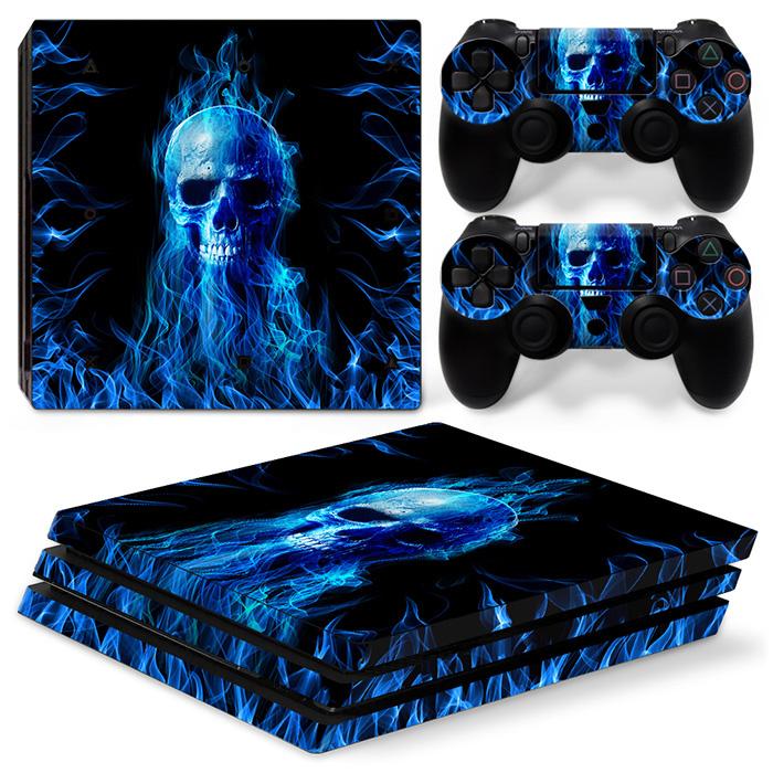 Blue Skull Premium - PS4 Pro Console Skins