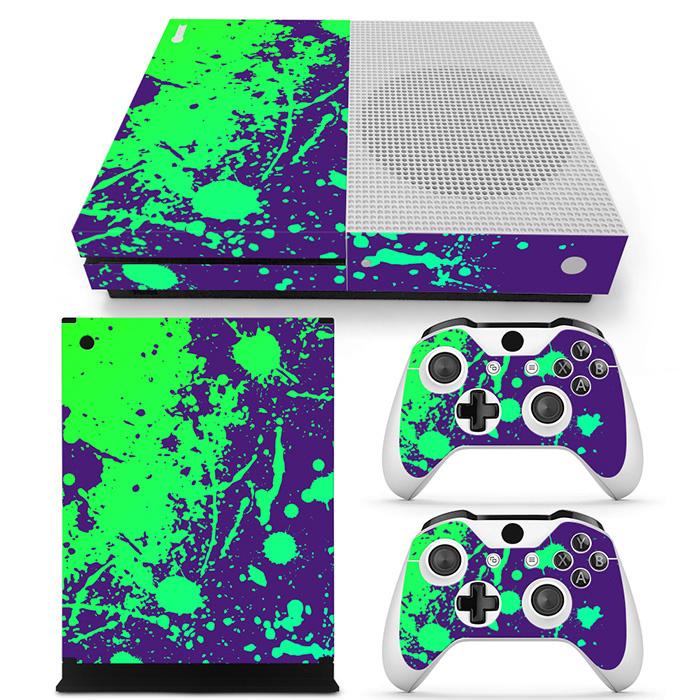 Verfspetters / Paars met Groen - Xbox One S Console Skins
