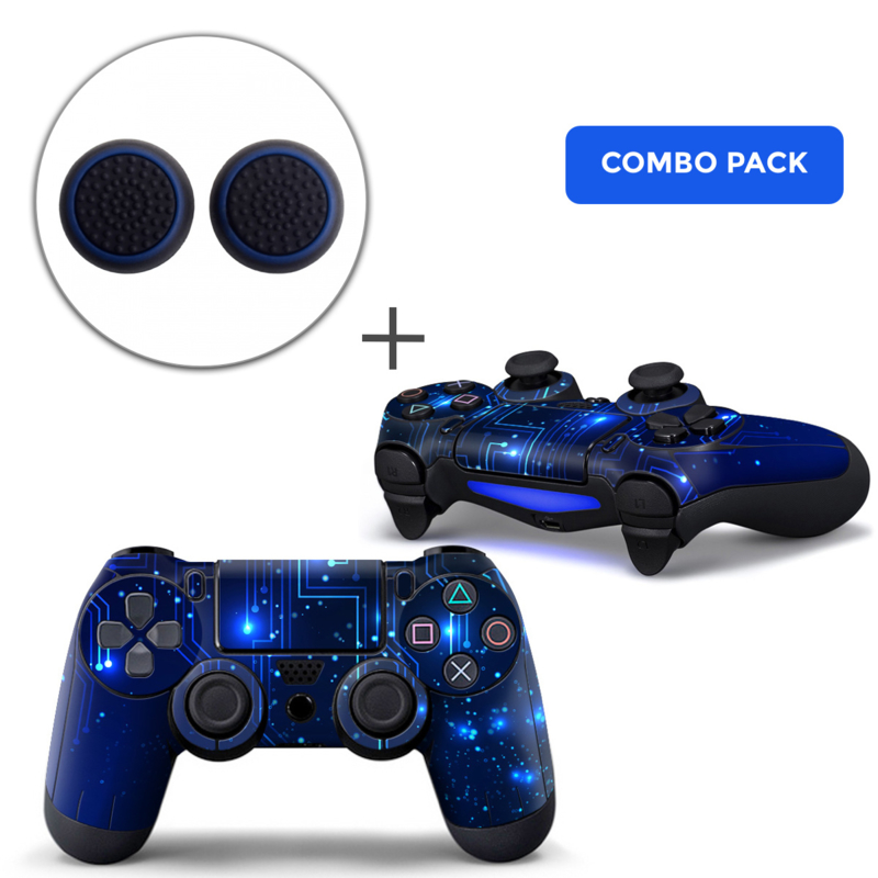 CPU / Blue Skins Grips Bundle - PS4 Controller Combo Packs