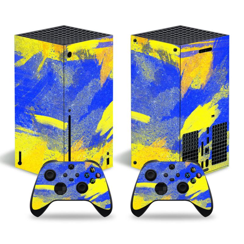 Grunge Neon Geel blauw - Xbox Series X Console Skins