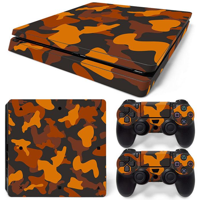 Army Camo Orange Black - PS4 Slim Console Skins