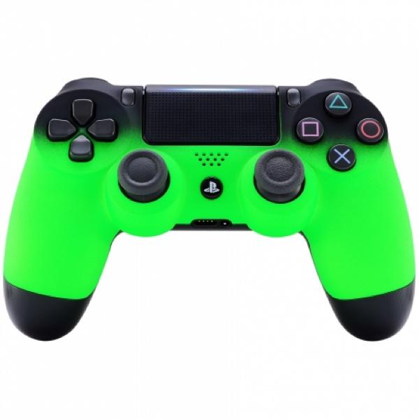 Gradient Soft Touch Zwart / Neon Groen - Custom PS4 Controllers V2