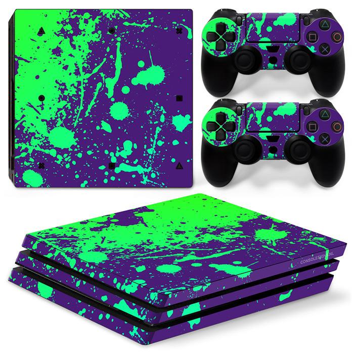 Verfspetters / Paars met Groen - PS4 Pro Console Skins