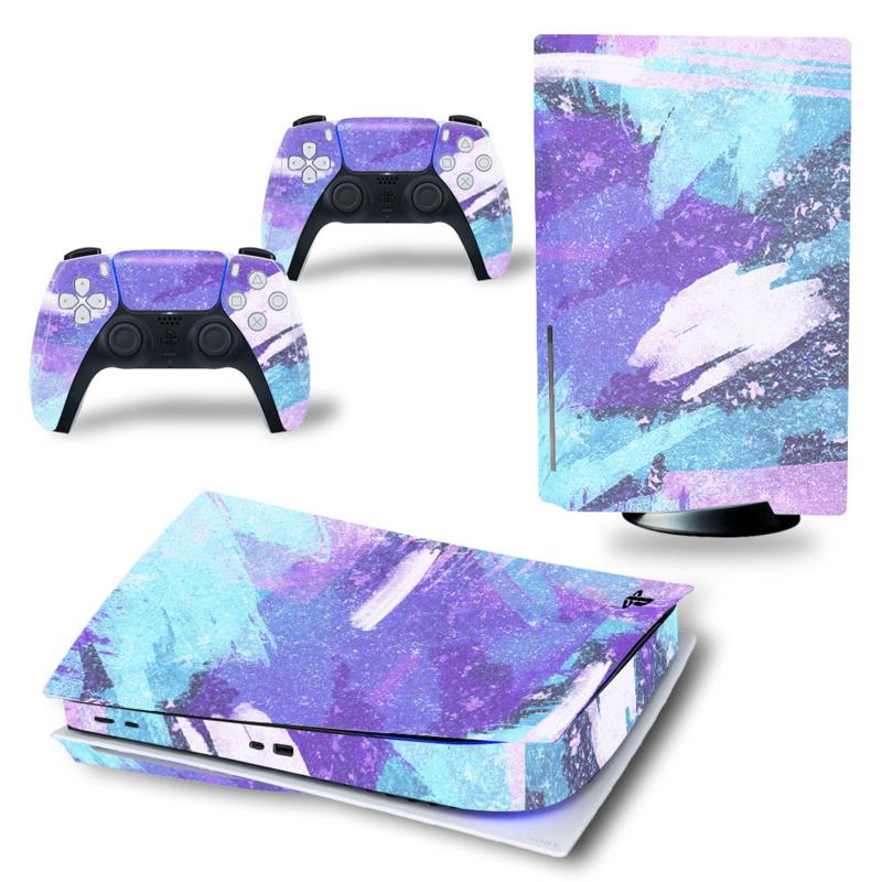 PS5 Console Skins - Grunge Neon Hemelsblauw / Violet