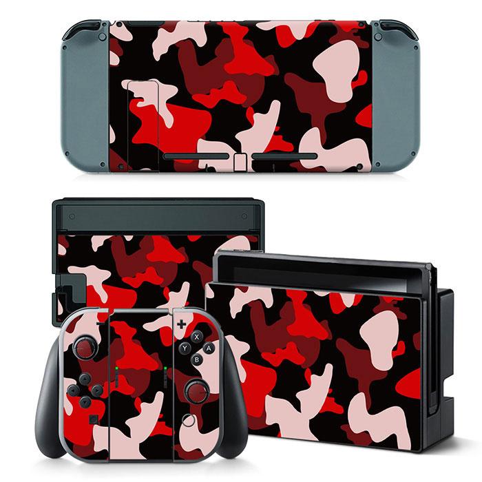 Army Camo Rood Zwart - Nintendo Switch Skins