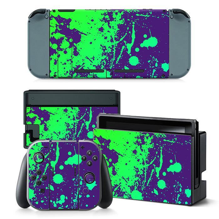 Paint Splatter Purple with Green - Nintendo Switch Skins