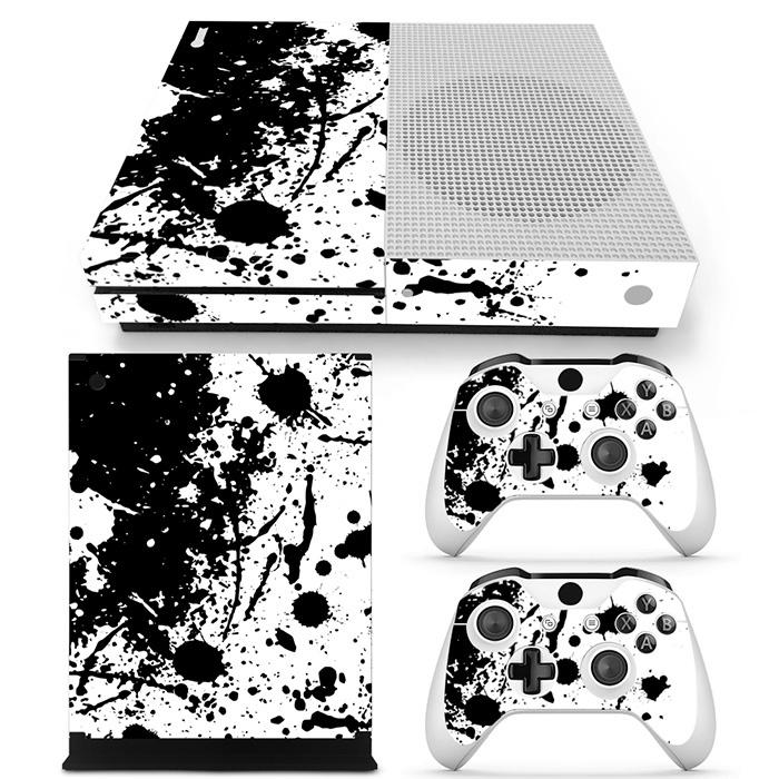 Verfspetters / Wit met Zwart - Xbox One S Console Skins