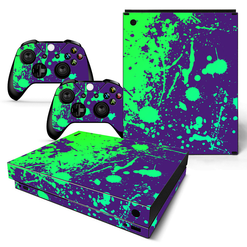 Paint Splatters / Purple with Green - Xbox One X Console Skins