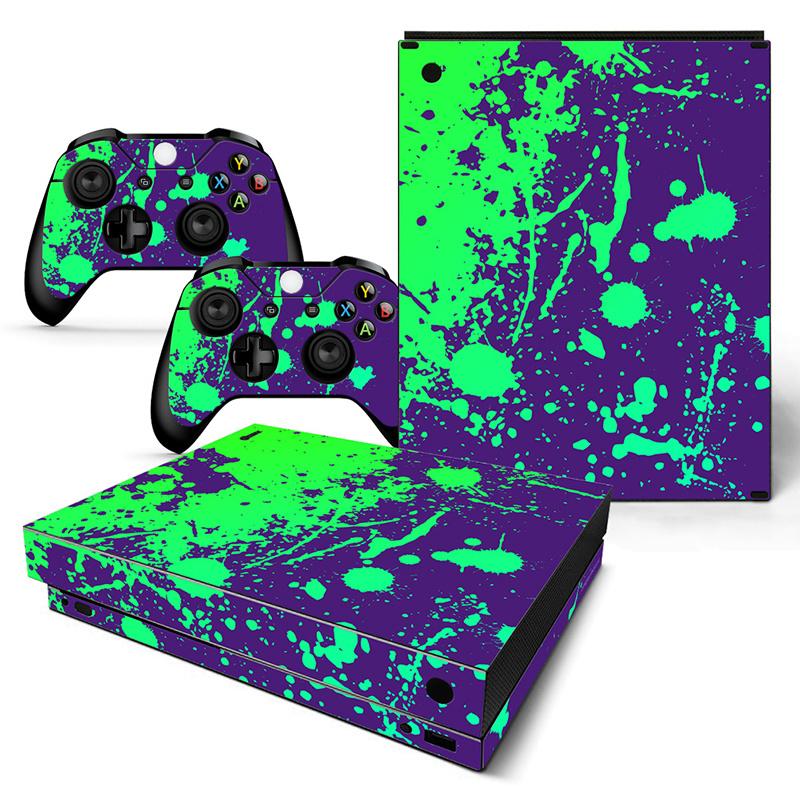 Verfspetters / Paars met Groen - Xbox One X Console Skins