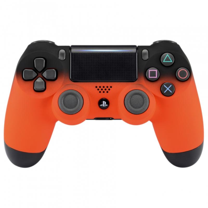 Sony DualShock 4 Controller PS4 V2 - Gradient Soft Touch Zwart Oranje Custom