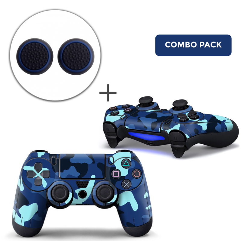 Army Camo / Blue Black Skins Grips Bundle - PS4 Controller Skins