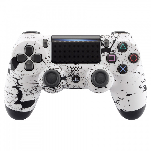 Soft Touch Wit met Zwarte Spetters - Custom PS4 Controllers