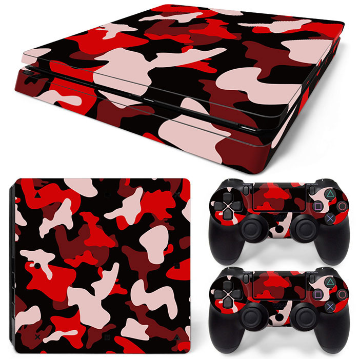 Army Camo Rood Zwart - PS4 Slim Console Skins