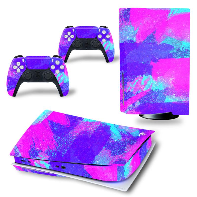 PS5 Console Skins - Grunge Neon Hemelsblauw / Paars