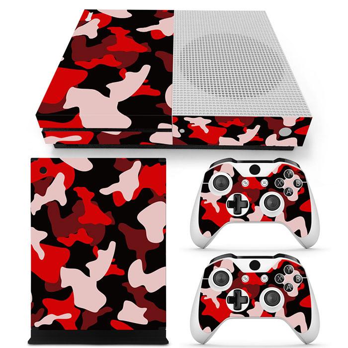 Army Camo Rood Zwart - Xbox One S Console Skins