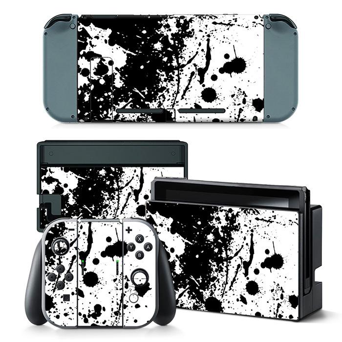 Paint Splatter White with Black - Nintendo Switch Skins