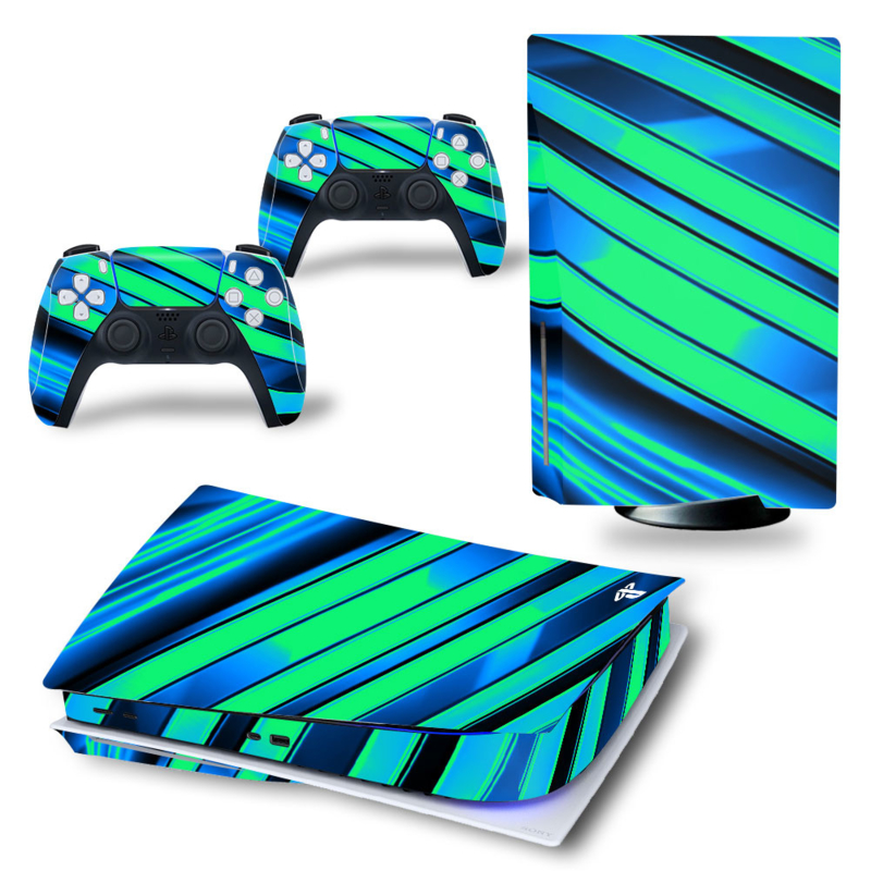 PS5 Console Skins - Metal Twirl Blauw / Groen