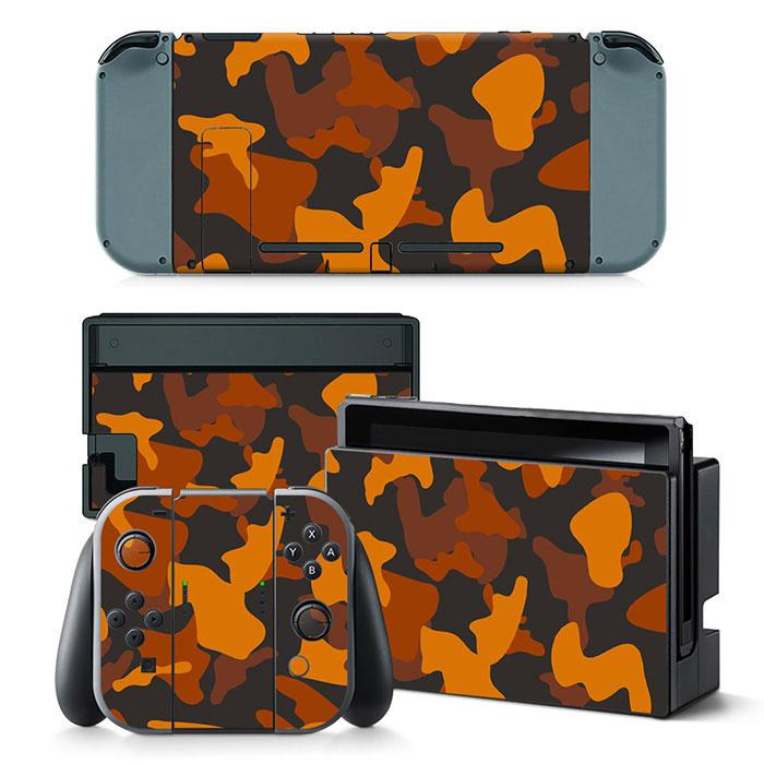 Army Camo Orange Black - Nintendo Switch Skins