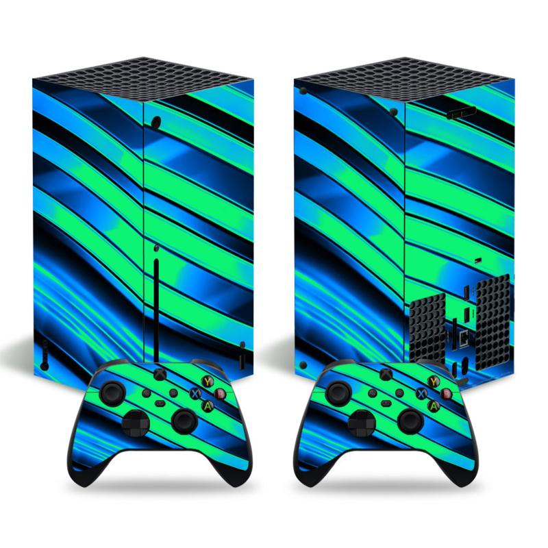 Metal Twirl Groen Blauw - Xbox Series X Console Skins