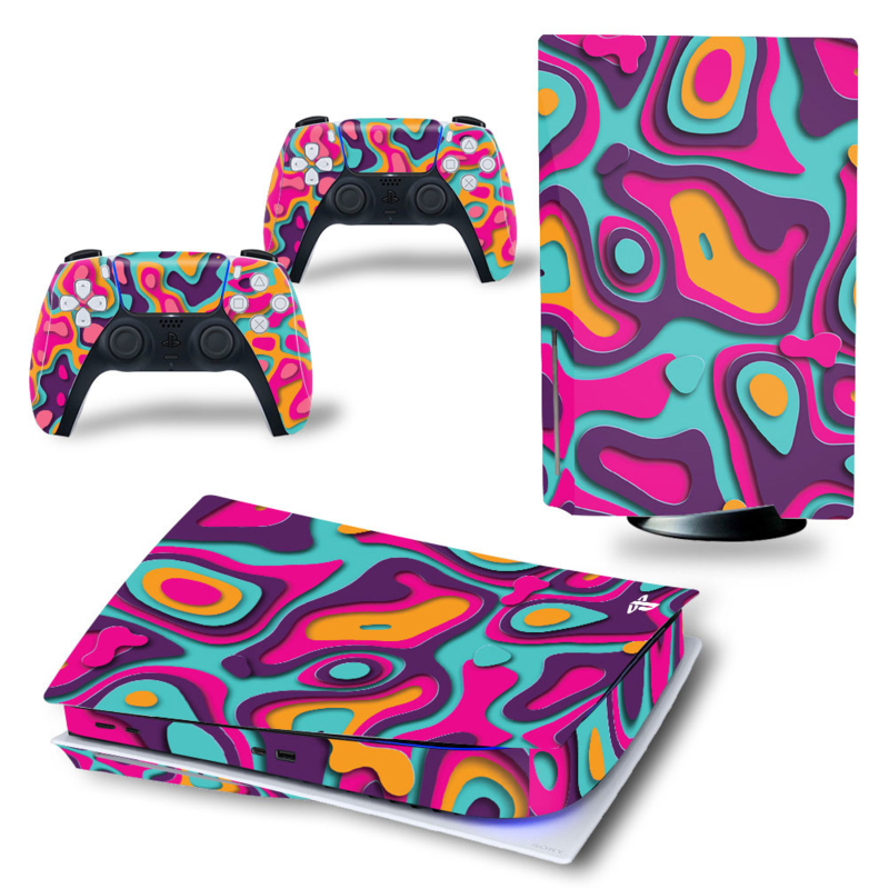 PS5 Console Skins - Artboard Oranje / Paars
