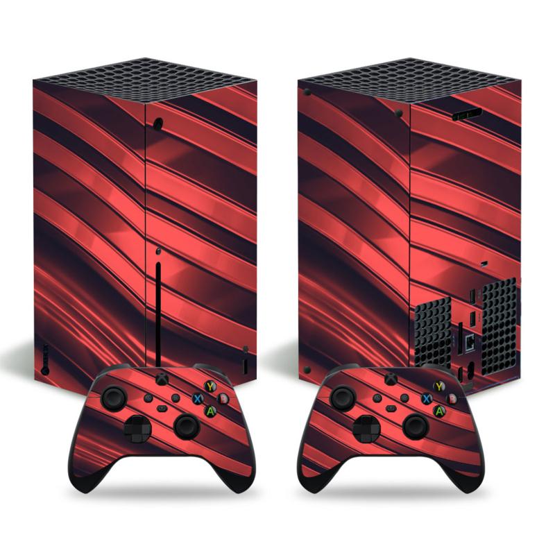 Metal Twirl Zwart Rood - Xbox Series X Console Skins