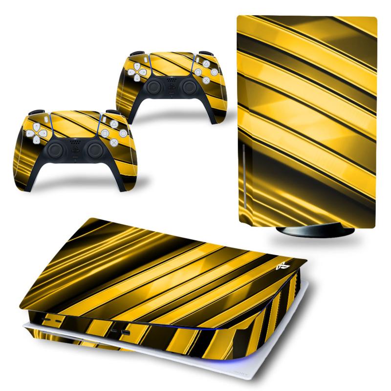 PS5 Console Skins - Metal Twirl Goud / Zwart