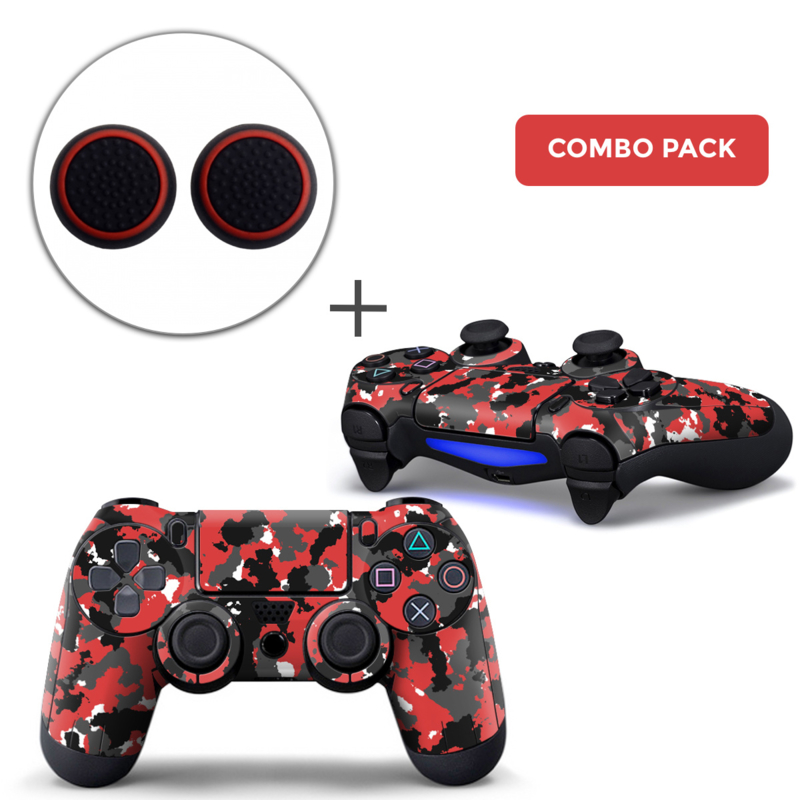 Army Red Skins Grips Bundle - PS4 Controller Combo Packs