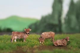 HVP001 Braunvieh set met 3 koeien 1:87