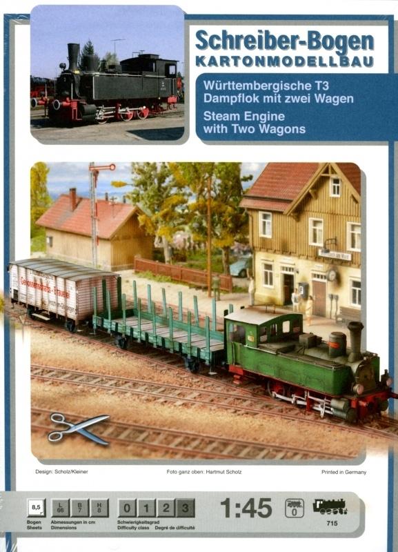 Bouwplaat SB 715   Stoomloc met wagens