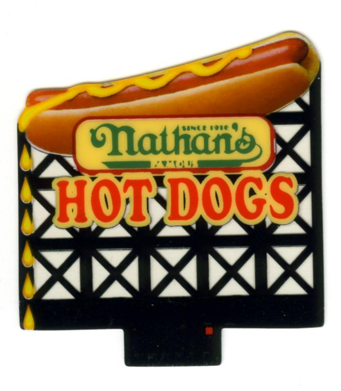 Reclamebord 44-3552  Nathan's Hot Dog HO