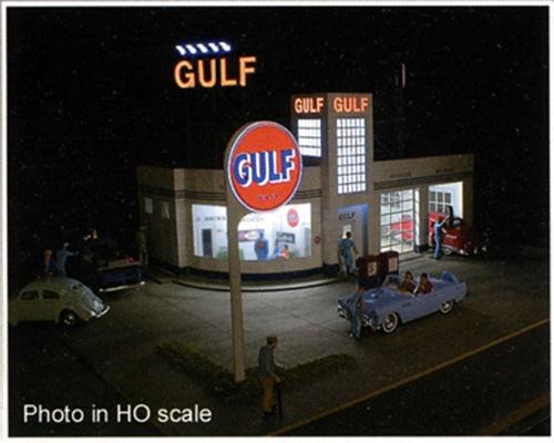 bouwpakket Gulf tankstation met reclame verlichting