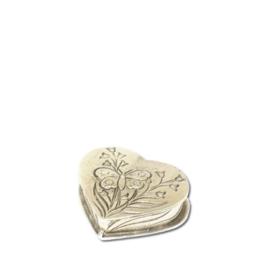 Mini urn hartje met gravure vlinder 60x55x20 mm