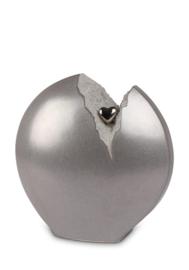 Urn gebroken hart (zilvergrijs) met gouden hartje, 3,7L